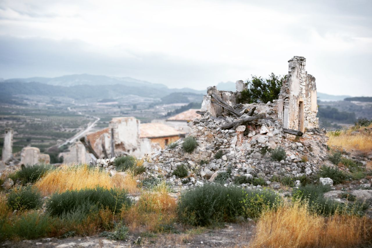 Architecture Building Catalunya Cultures Day Decay Grey Sky Growth History Landscape Mountain Nature No People Outdoors Quarry Religion Ruins Sky Sky And Clouds Stone Tree Urban Decay