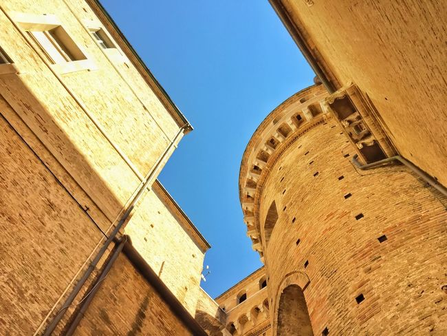 Architecture Building Exterior Built Structure Low Angle View Clear Sky Blue Day Travel Destinations Tall - High Brown Outdoors History Tourism Old Town No People Ancient Famous Place Loreto Italy Tourism Medieval Architecture