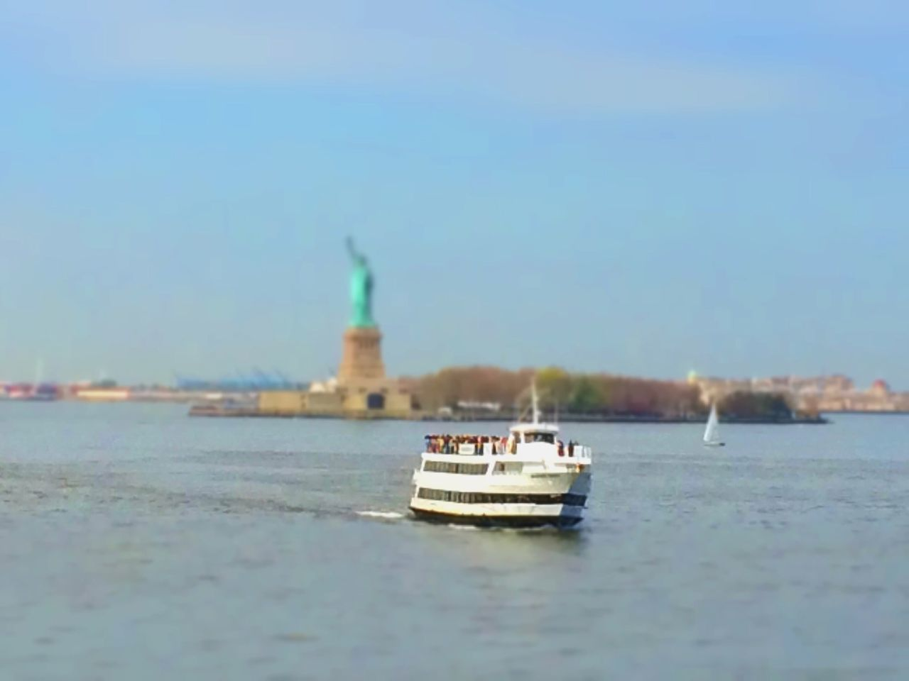 Beautiful stock photos of statue of liberty, Boat, Clear Sky, Day, Famous Place