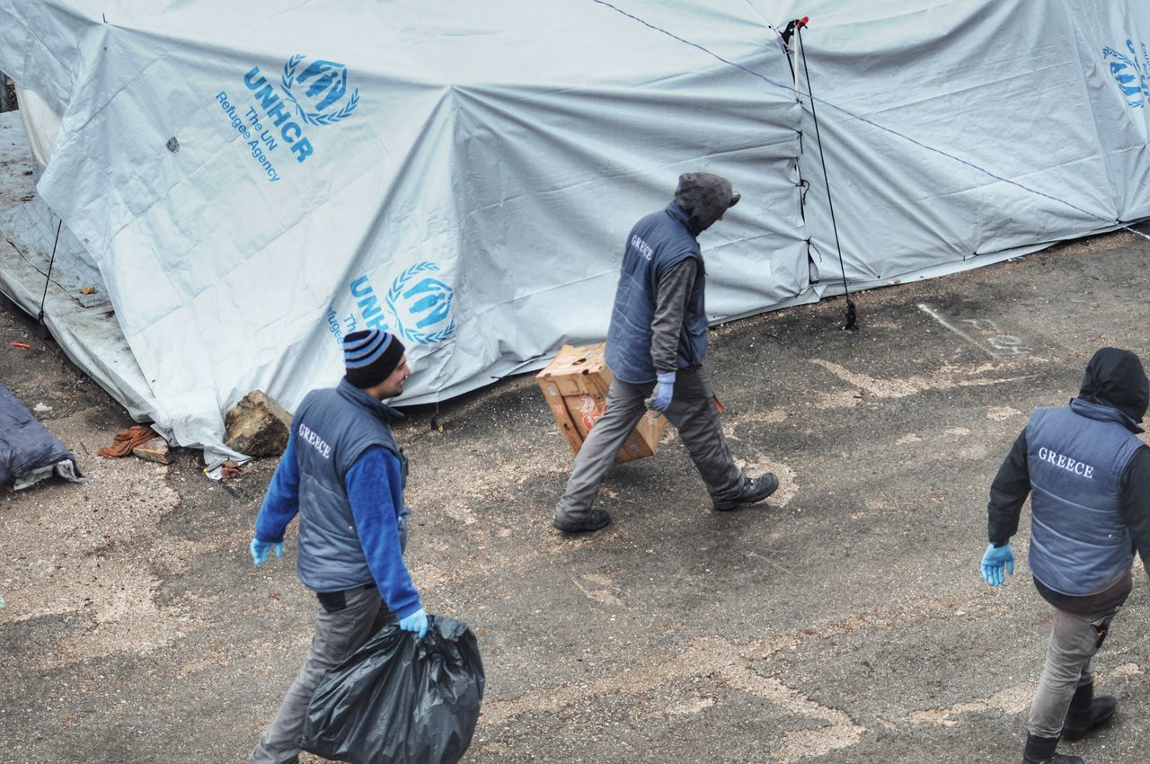 Real People Outdoors Working Rainy Morning Refugee Center Refugee Camp Refugees Crisis Refugee Life Cold Temperature Campsite Every Picture Tells A Story Tents From Where I Stand Refugeecamp Rainyweather People - Greek Islands Chios Greece