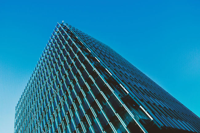 Architecture Blue Building Building Exterior Built Structure City Clear Sky Copy Space Day Glass - Material Low Angle View Modern No People Office Building Outdoors Pattern Sky Skyscraper Tall - High Tower