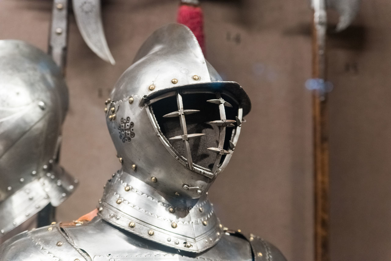 Close-up Day Focus On Foreground Headwear Helmet History Indoors  Medieval Metal No People Shield Shiny Suit Of Armor