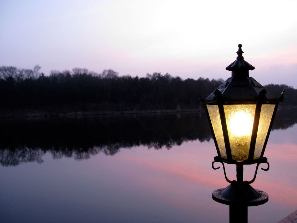 Close-up Dusk Dusk Colours Illuminated Lake Lantern Light Light And Shadow Outdoors Quiet Quiet Moments Reflection Riverside Sunset Water Waterfront