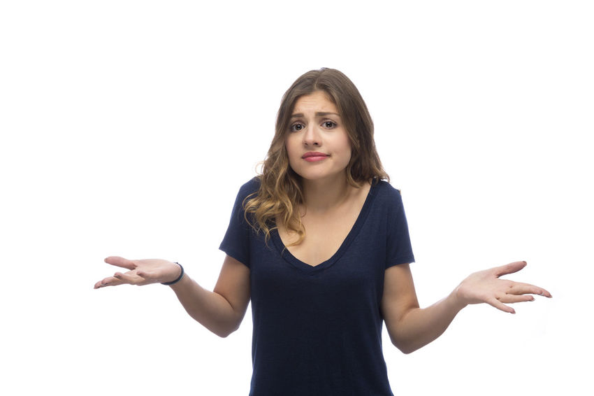 Confused young beautiful woman, isolated on white background Beautiful Clueless Decisions Doubt Embarrassment Puzzled Shrug Woman Worried Casual Clothing Caucasian Dilemma Expression Frustrated Frustration Gesturing Open Palm Pretty Problem Question Raised Eyebrows Solution Uncertain Uncomfortable White Background