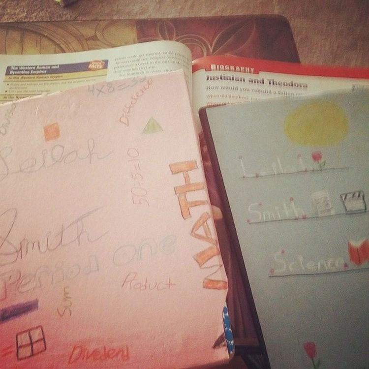 Finished my composition book covers Schoo