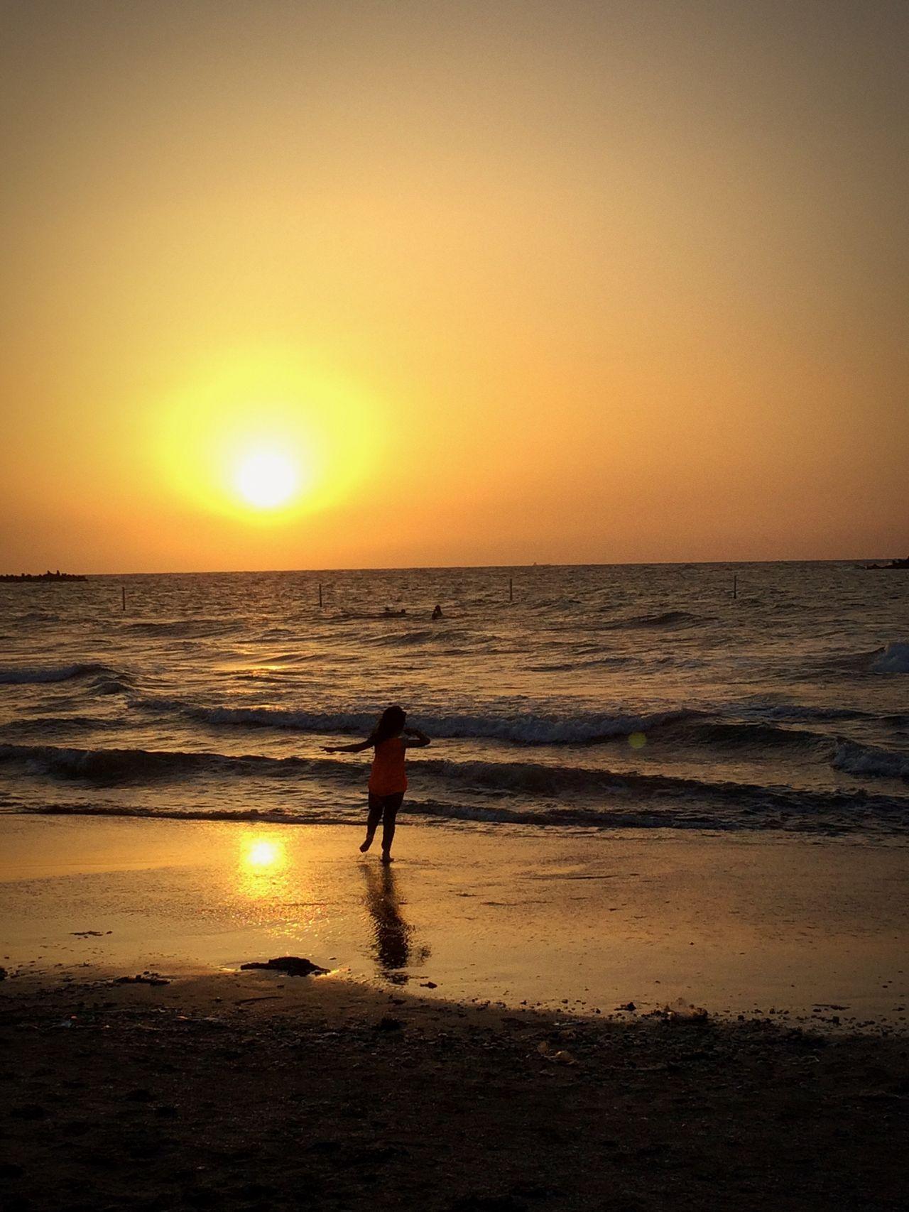 Sea Sunset Kid Girl Happiness Run Sand Nature Sun Happy Time Happy Kid Smile