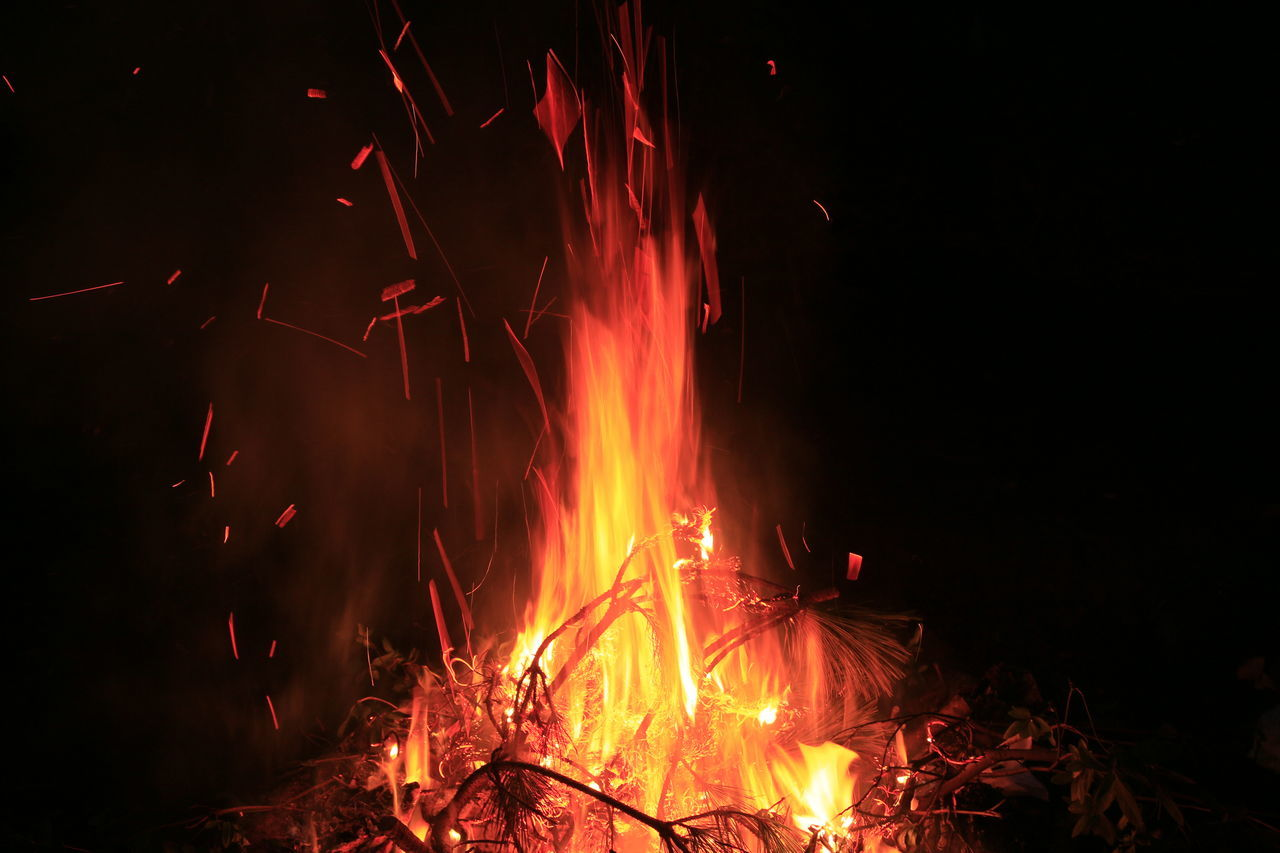 night, burning, flame, glowing, heat - temperature, no people, bonfire, outdoors, close-up