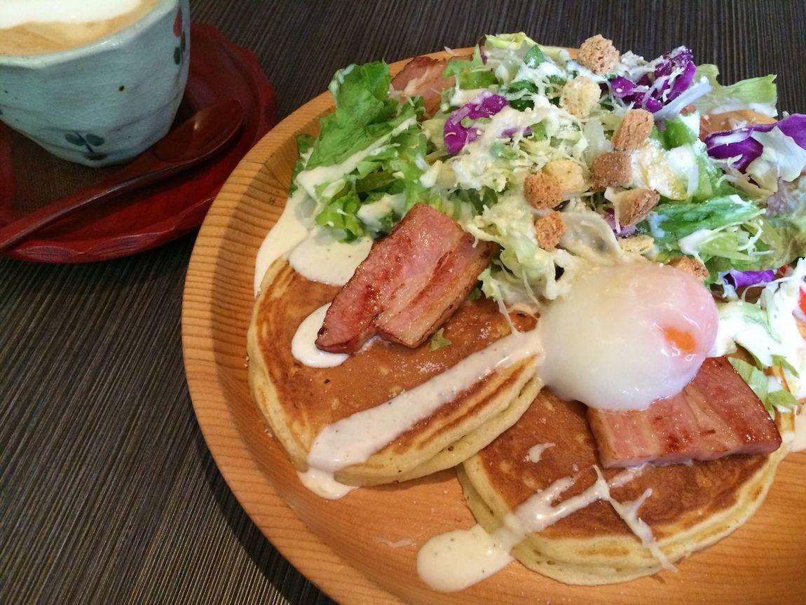 久しぶりにパンケーキ(*´∪`) Lunch Pancakes Cappucino Yummy In My Mouf Osaka,Japan