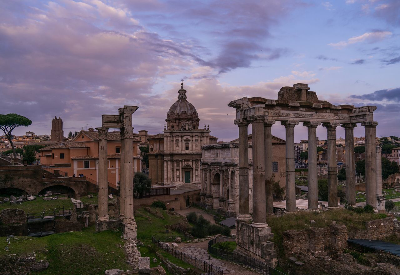 Ruined. Architecture Sky Travel Destinations Built Structure Building Exterior Cloud - Sky History Tourism Outdoors Ancient Ancient Civilization Rome Roma Rome Italy Europe Italy❤️ Italia Bella Italia Italy Forum Romanum Ruins Skyporn Dusk End Of The Day Pilars