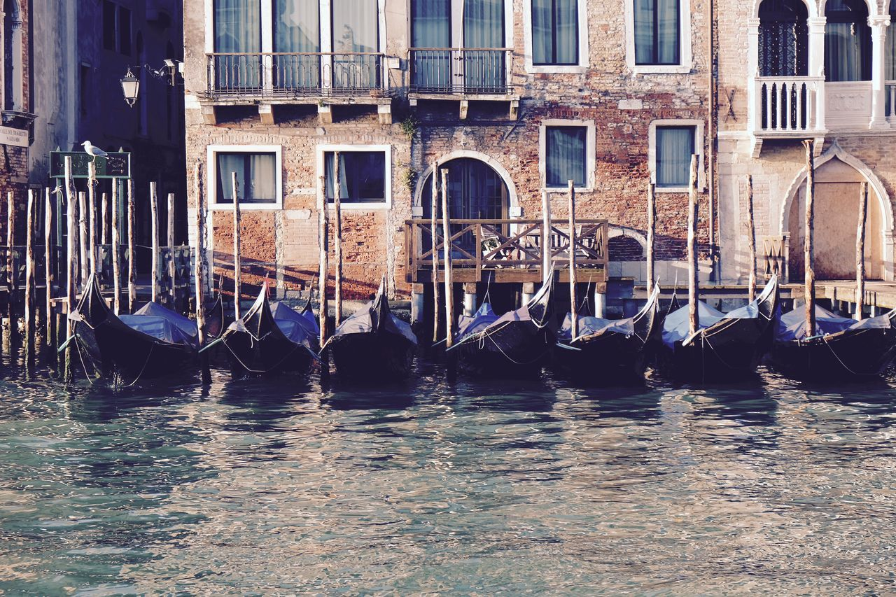 Architecture Building Exterior Built Structure Canal Day Eye4photography  EyeEm Best Shots EyeEmNewHere Gondola Gondola Gondola - Traditional Boat Gondolier Moored Nautical Vessel No People Outdoors Sea And Sky The Week On Eyem Transportation Travel Destinations Venezia Venice Water Waterfront Wooden Post