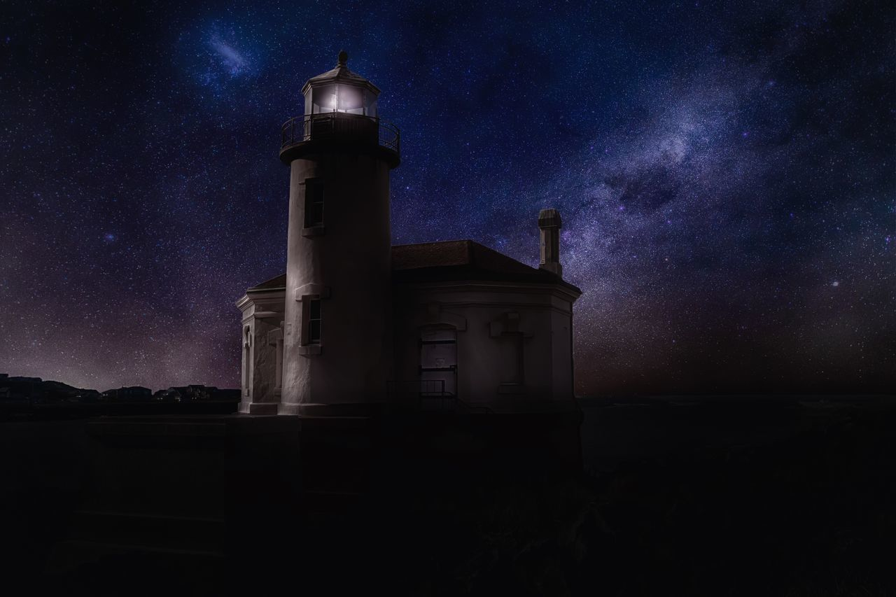 Lighthouse Against Sky During Night