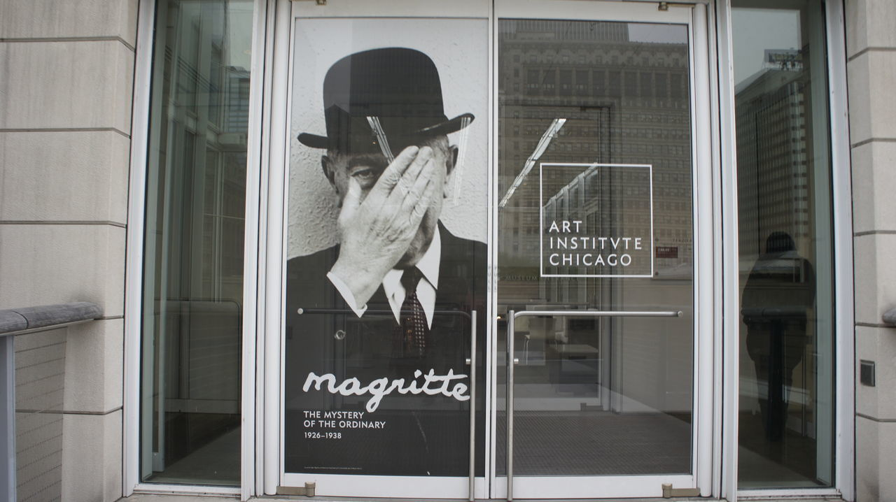 Magritte Architecture Art Art Gallery Art Studio Building Reflections Caught In The Moment Chicago Chicago Architecture Day Glass Panels Poster Poster Art Reflections Standing Text Window Woman