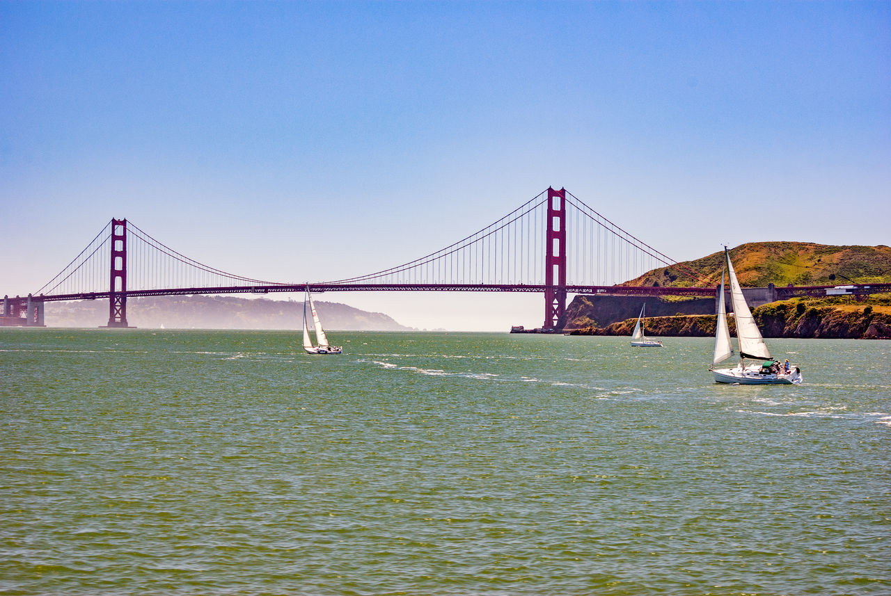 Sailing to the Golden Gate Architecture Bridge Bridge - Man Made Structure Built Structure City Connection Day Engineering No People Outdoors Sea Sky Suspension Bridge Tourism Transportation Travel Travel Destinations Water