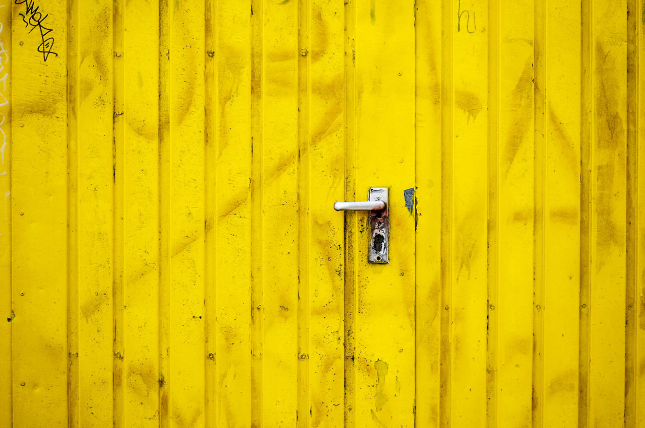 Yellow door Architecture Close-up Day Door Graffiti Mailbox No People Outdoors Yellow