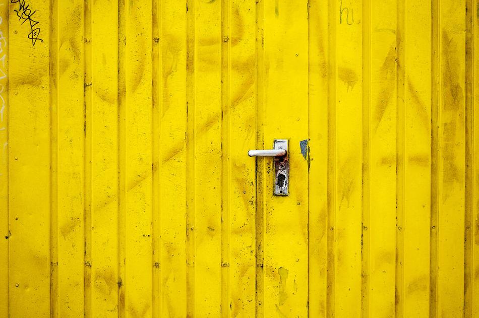 Yellow door Architecture Close-up Day Door Graffiti Mailbox No People Outdoors Yellow
