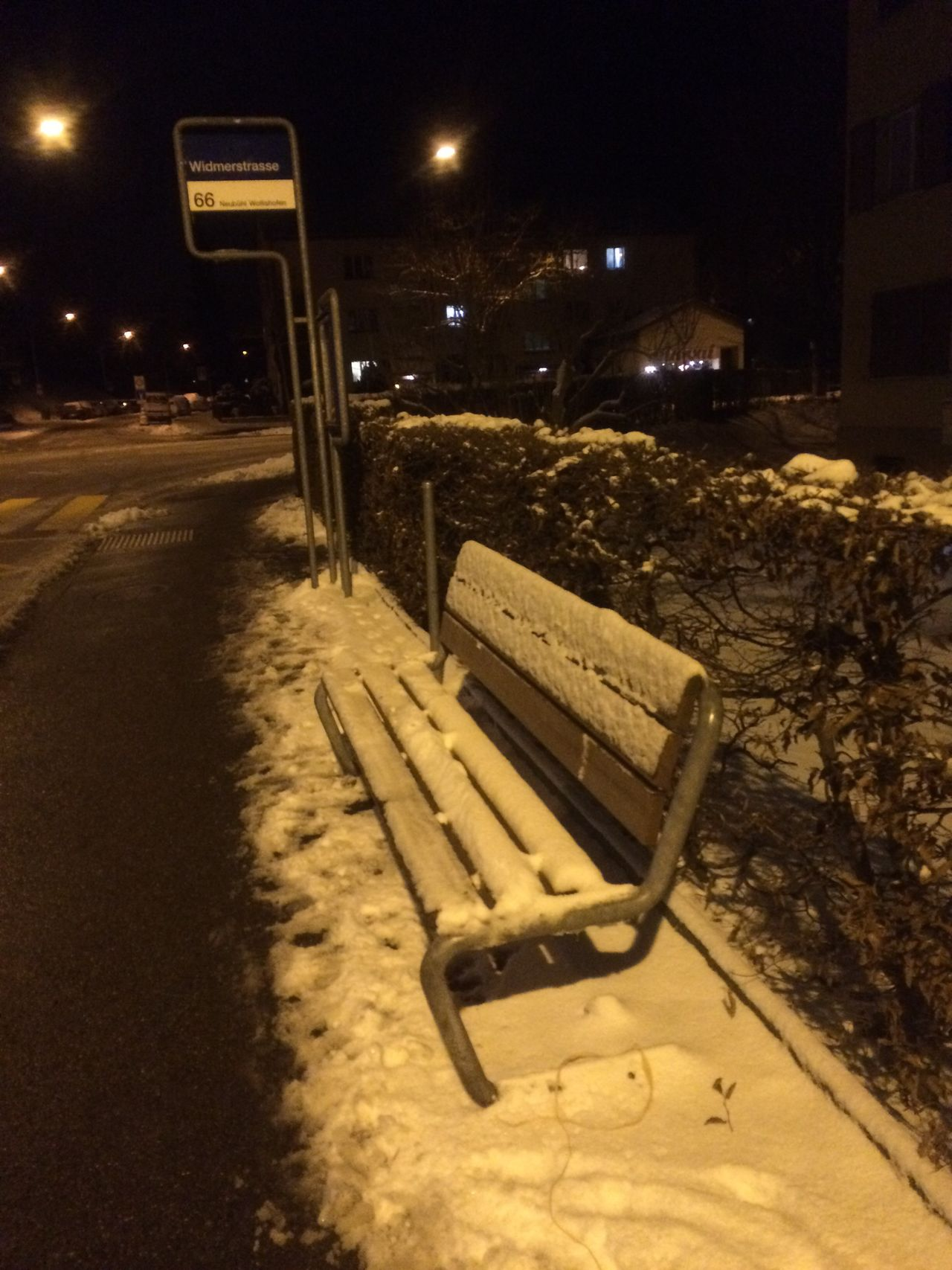 Night Snow On Parkbench Illuminated No People Winter Cold Temperature Outdoors