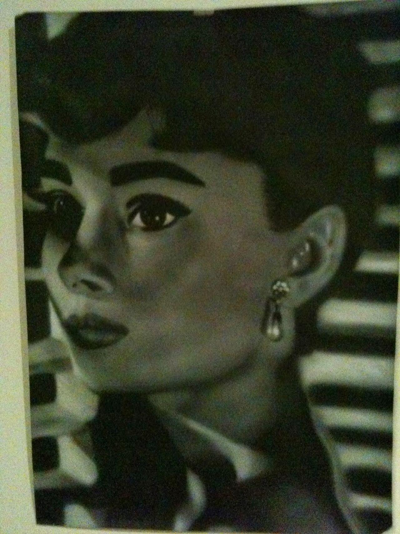 Airbrush ArtWork Audrey Hepburn Blackandgrey Blackandwhite Contemplation Headshot Human Face Painting Portrait