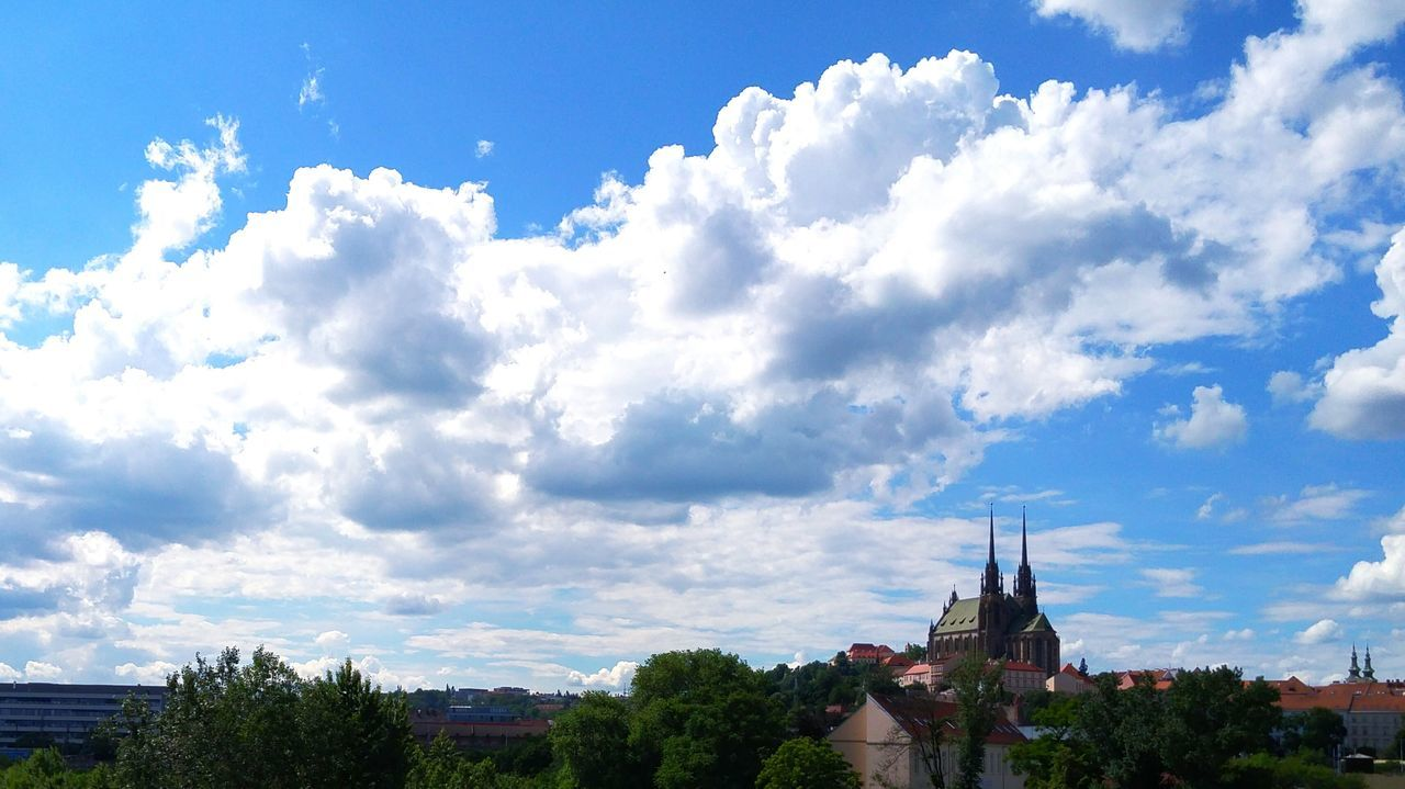 Church City My City Symbol Of My City Petrov Brno Tower Sky Sky And Clouds Blue Sky Cloud Clouds And Sky High Angle View Trees Houses
