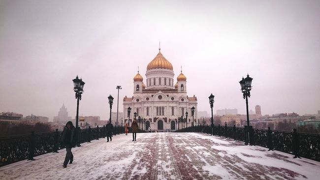Church Bridge Winter Moscow White And Gold Cathedral