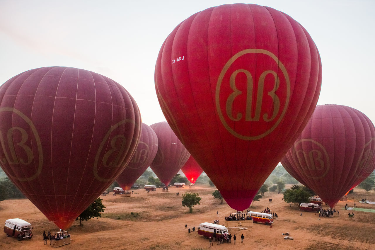 Air Vehicle Ballooning Festival Beautiful Day EyeEmNewHere Gas Hot Air Balloon Nature No People Outdoors Red Sunrise Temple