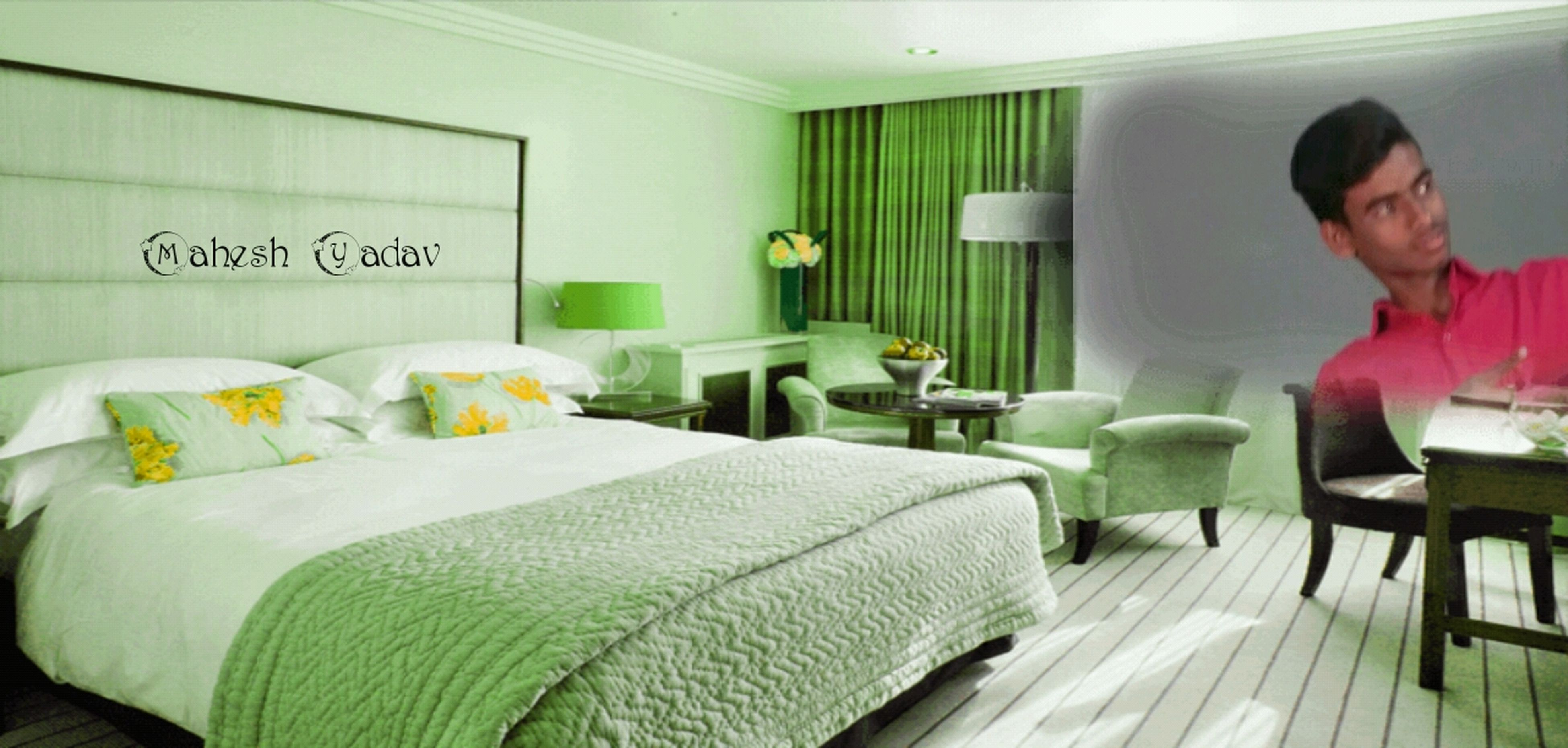 bed, bedroom, indoors, home interior, one person, pillow, adults only, green color, domestic life, people, day, one man only, adult