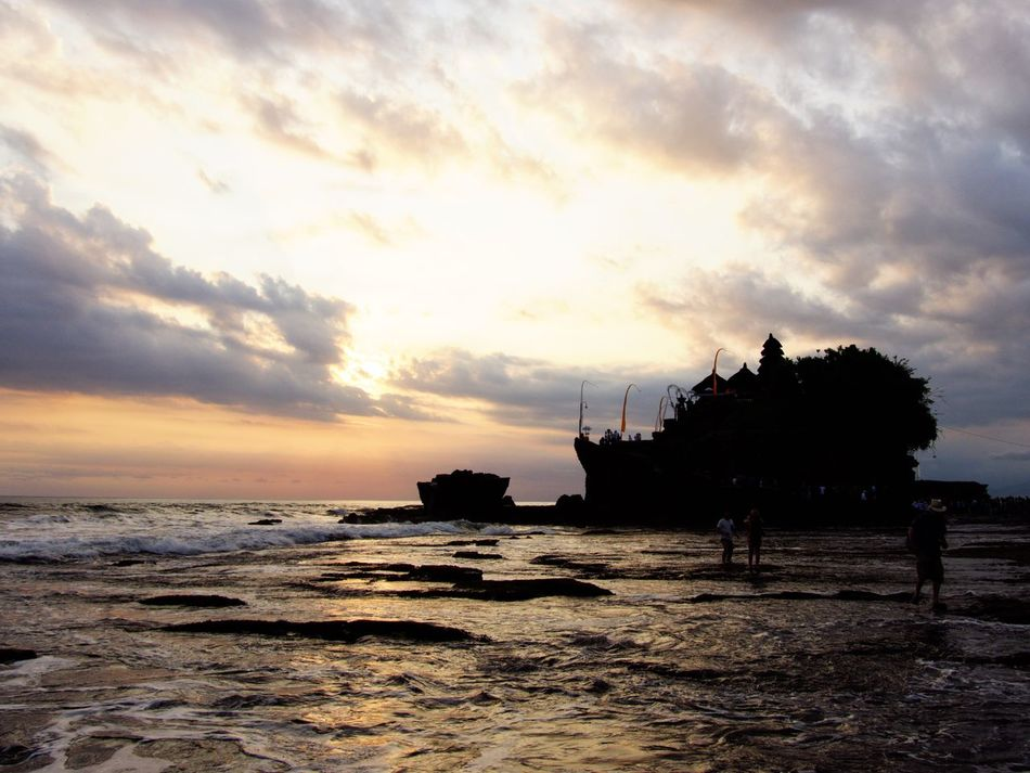 Tanah Lot Sunset Cloud - Sky Sky Sea Silhouette Water Beach Scenics Built Structure EyeEm Gallery Holidays Life Is A Beach Light And Shadow On The Beach Bali Silhouette Holiday Travel EyeEm Best Shots Traveling