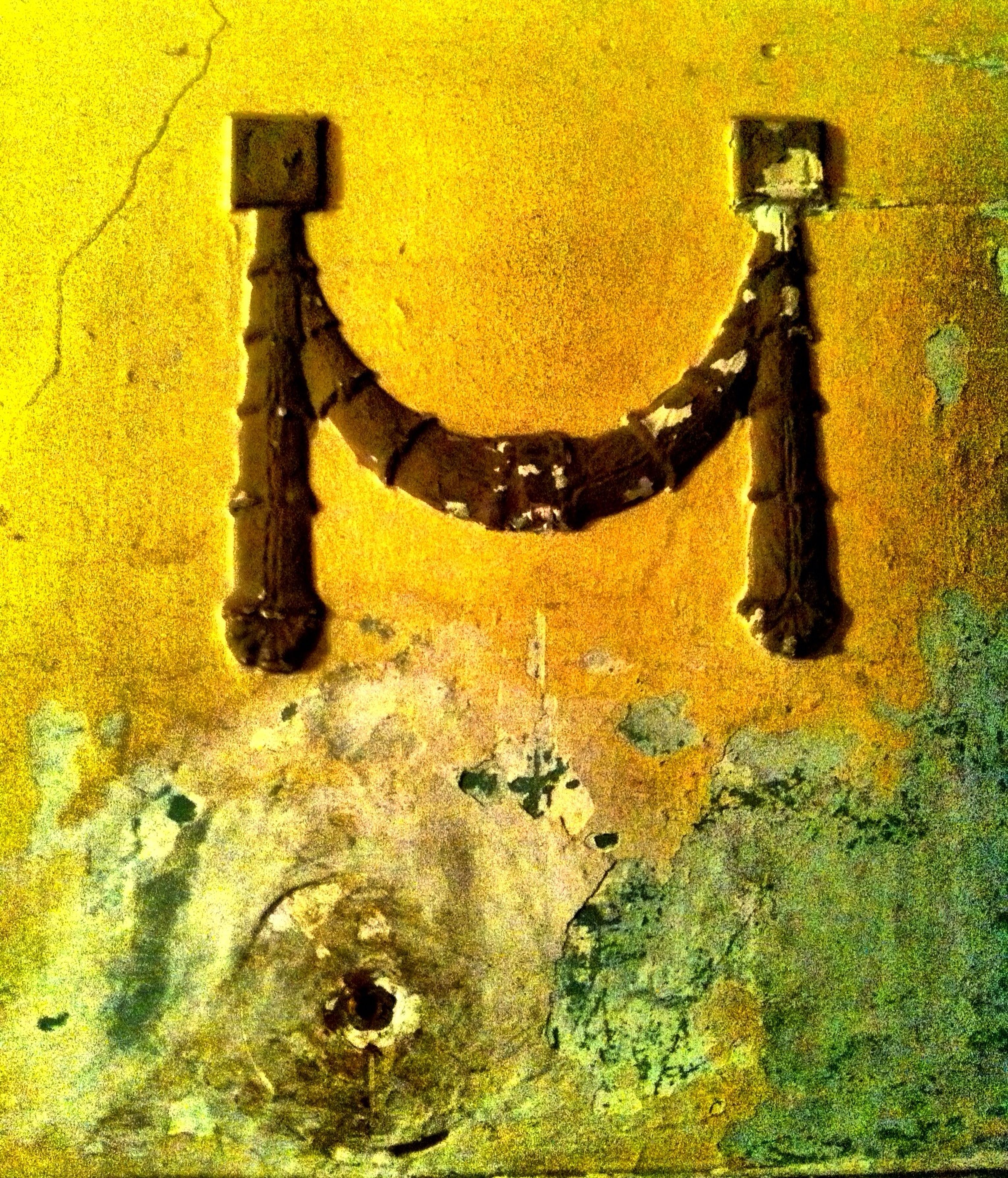 yellow, built structure, old, orange color, weathered, high angle view, architecture, outdoors, wall - building feature, metal, close-up, rusty, autumn, damaged, run-down, no people, full frame, deterioration, auto post production filter, backgrounds