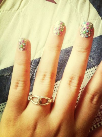 Nails with jewels<3