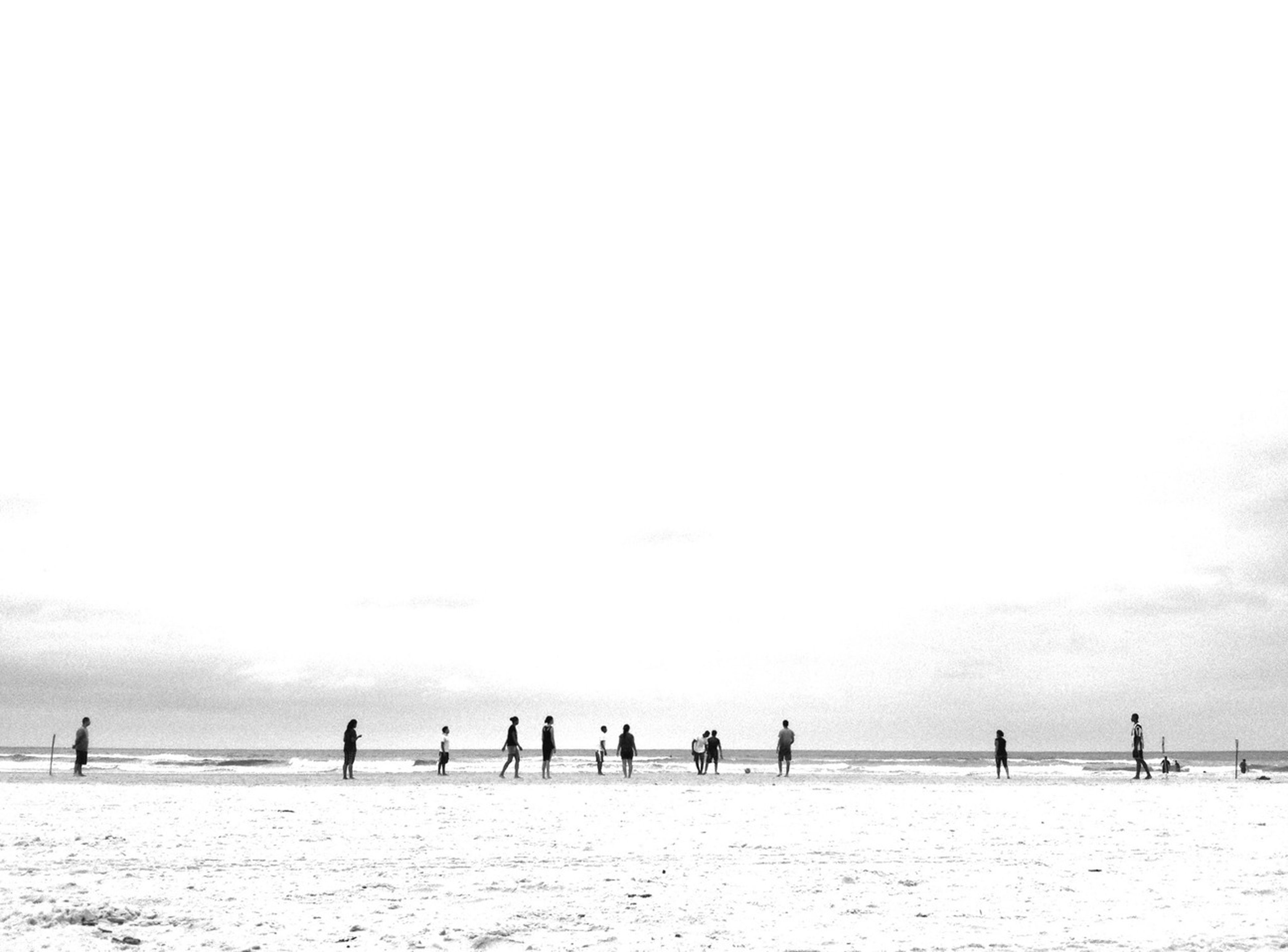 copy space, beach, clear sky, large group of people, sea, tranquility, nature, sand, tranquil scene, bird, day, leisure activity, vacations, men, outdoors, water, beauty in nature, lifestyles