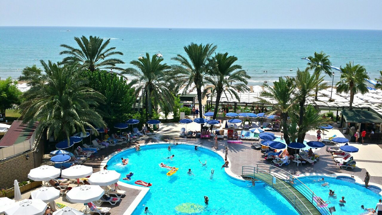 Holiday Side Turkey Hotel Sandy Beach Swimming Pool Beautiful View At The Seaside Summer Views Palm Trees
