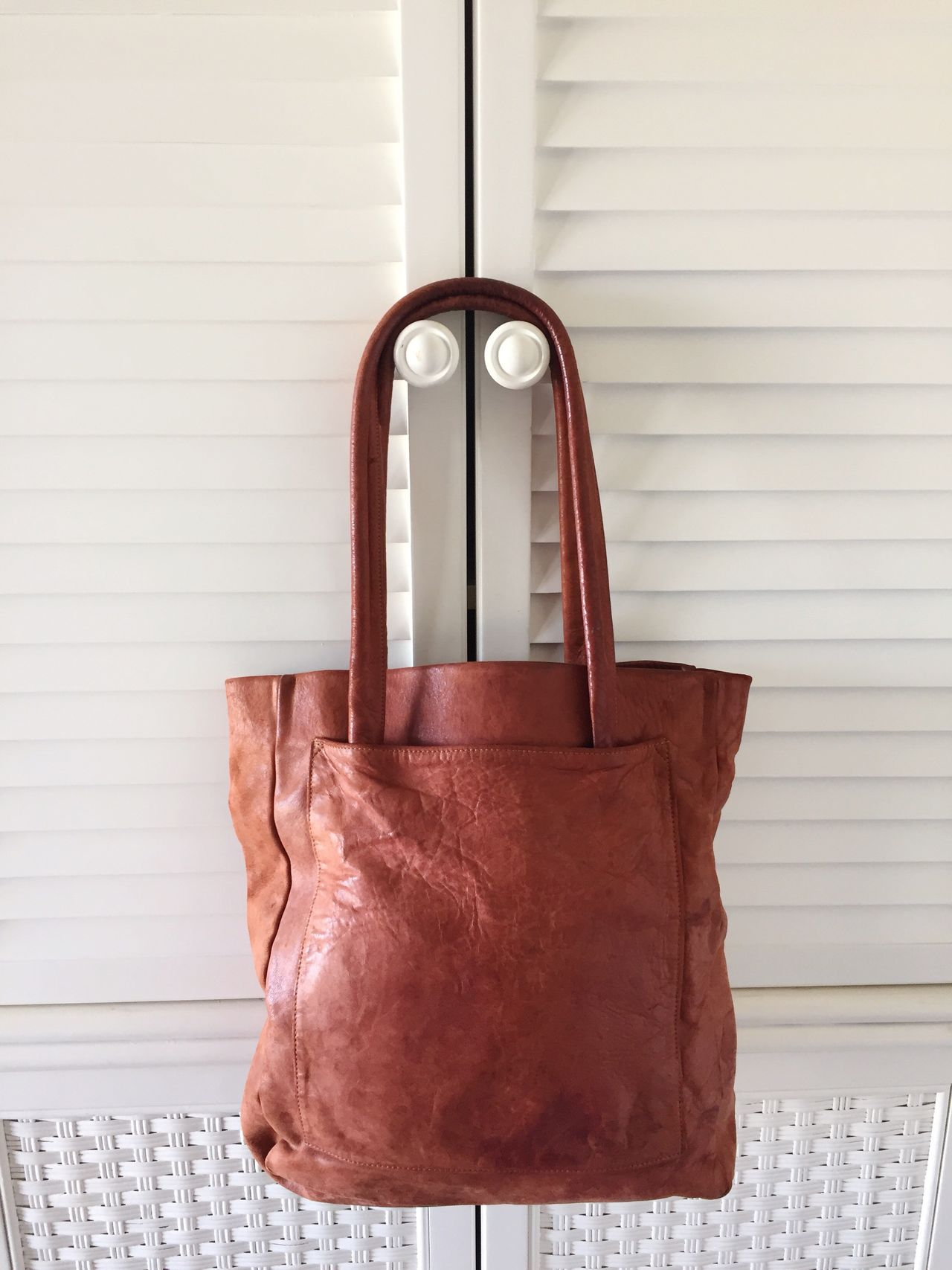 Vintage leather tote bag Indoors  No People Vintage Totebag Purse Leather Bag Leather Brown Hanging Close-up Day