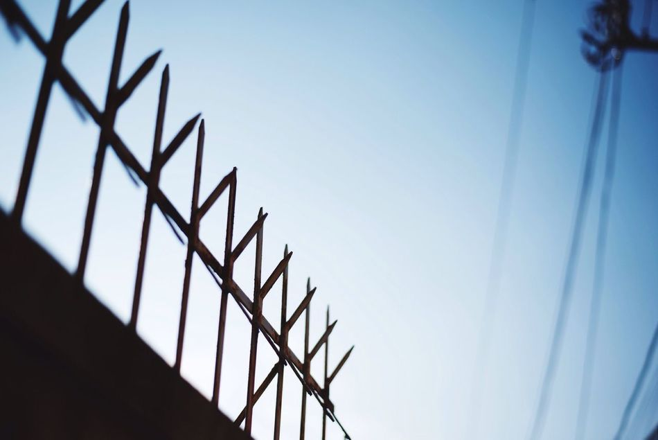 Beautiful stock photos of safety, Blue, Day, Fence, Low Angle View