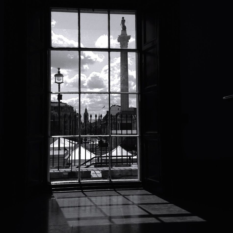 Creative Light And Shadow London Light And Shadow Black & White Blackandwhite Photography Nelsons Column Window Bnw Bnwlondon
