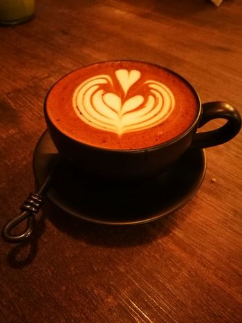Coffee - Drink Coffee Cup Heart Shape Drink Food And Drink Latte Frothy Drink Cappuccino Froth Art Table Refreshment Saucer Brown Indoors  Cafe Wood - Material No People Close-up Mocha Freshness Food Stories