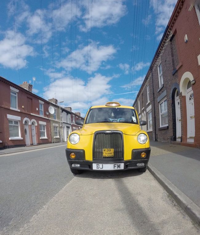 Yellow Hackney Taxi Cab...x Transportation Yellow Land Vehicle Street City Public Transportation Taxi Road First Eyeem Photo Hackney Cab Taxicab Tocci Toxteth Liverpool