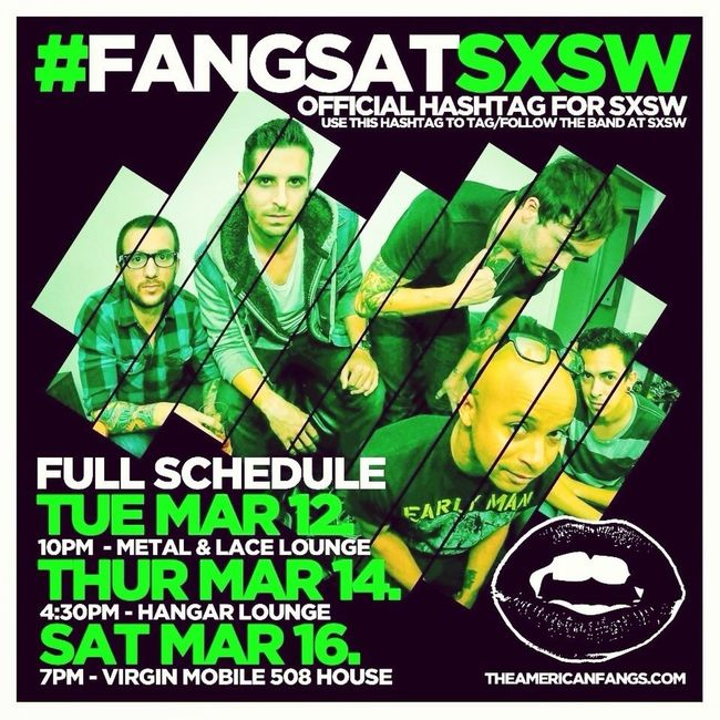 Go check out @americanfangs at SXSW! Follow on Twitter, Facebook, Instagram, SoundCloud, ReverbNation #americanfangs #fangsatsxsw #sonysxsw www.theamericanfangs.com