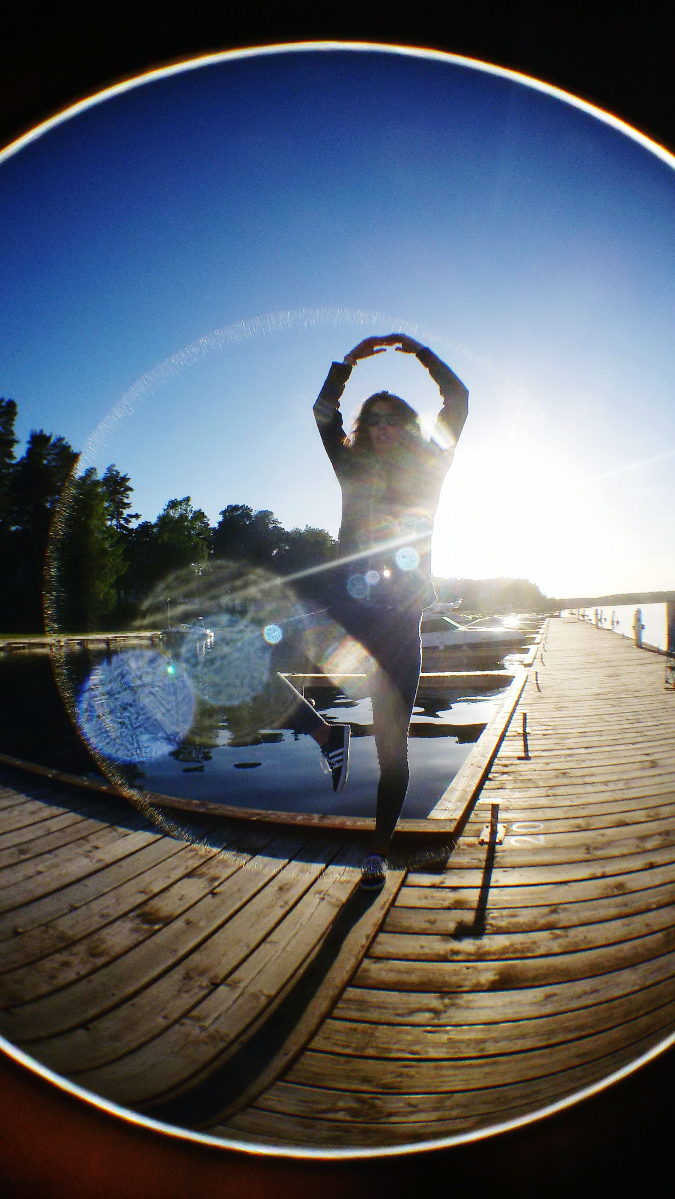 one animal, full length, sky, blue, motion, mid-air, sunlight, animal themes, water, leisure activity, outdoors, jumping, day, fish-eye lens, nature, reflection, lifestyles, side view
