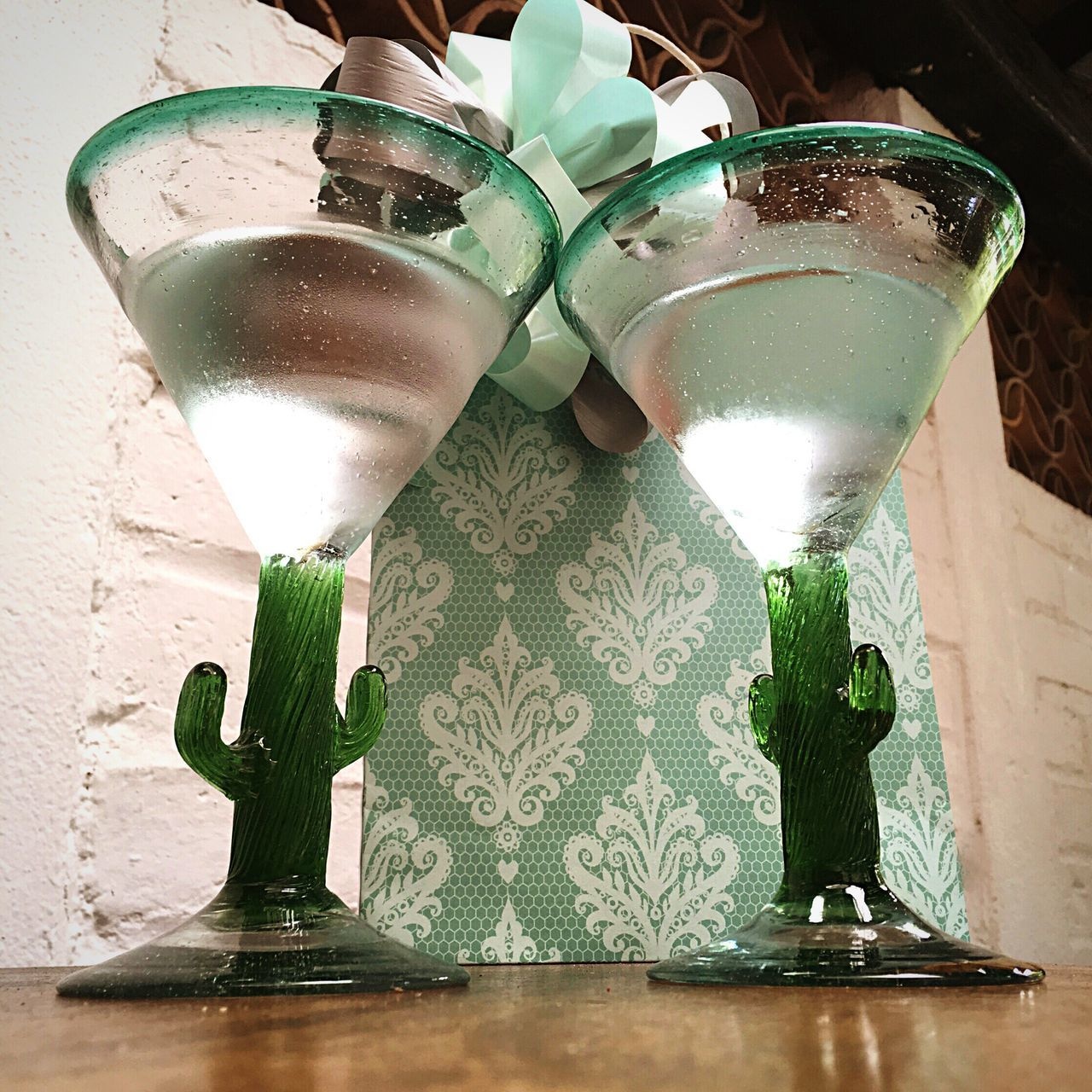 Surprises Surprises Glass Of Water Drink Refreshment Table No People Freshness Drinking Glass Indoors  Day Mexico Mint Green Cactus