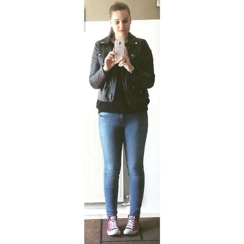 Outfitoftheday Today Wenesdaymorning Leatherjacket converse me french girl blonde hair go to school