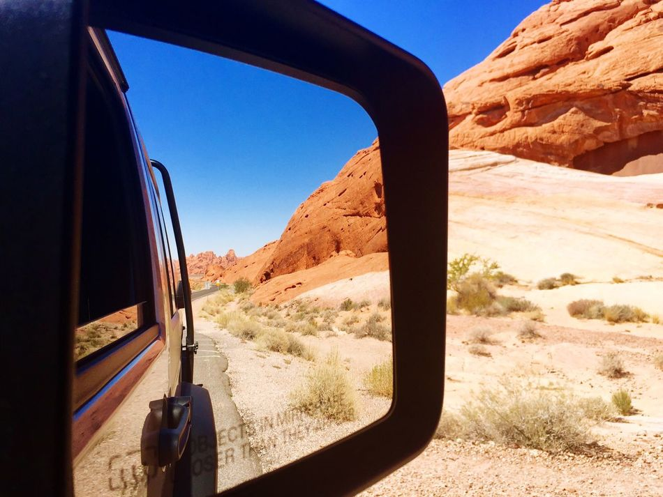 Reflection Transportation Mountain Nature Car Mode Of Transport Scenics Land Vehicle Beauty In Nature Mountain Range Rock - Object Day Non-urban Scene Clear Sky Side-view Mirror No People Travel Destinations Outdoors Tranquility Landscape Tranquil Scene NEVADA, USA!♡ Roadtrip Phone Photography
