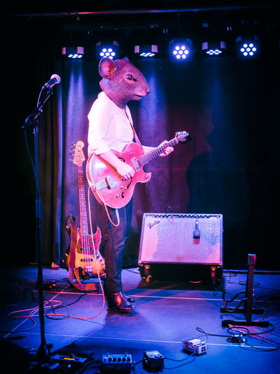 Animal Mask Arts Culture And Entertainment Concert Electric Guitar Full Length Guitar Guitarist Mask Microphone Mouse Mouse In Concert Mouse Mask Music Musician Performance Playing Singer  Stage Stage - Performance Space Woman