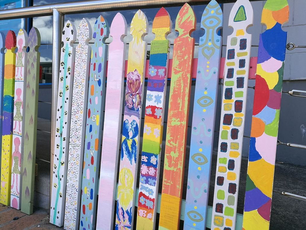 Multi Colored Arrangement No People Low Angle View Summer Auckland New Zealand Fence Pattern Picket Fence Art