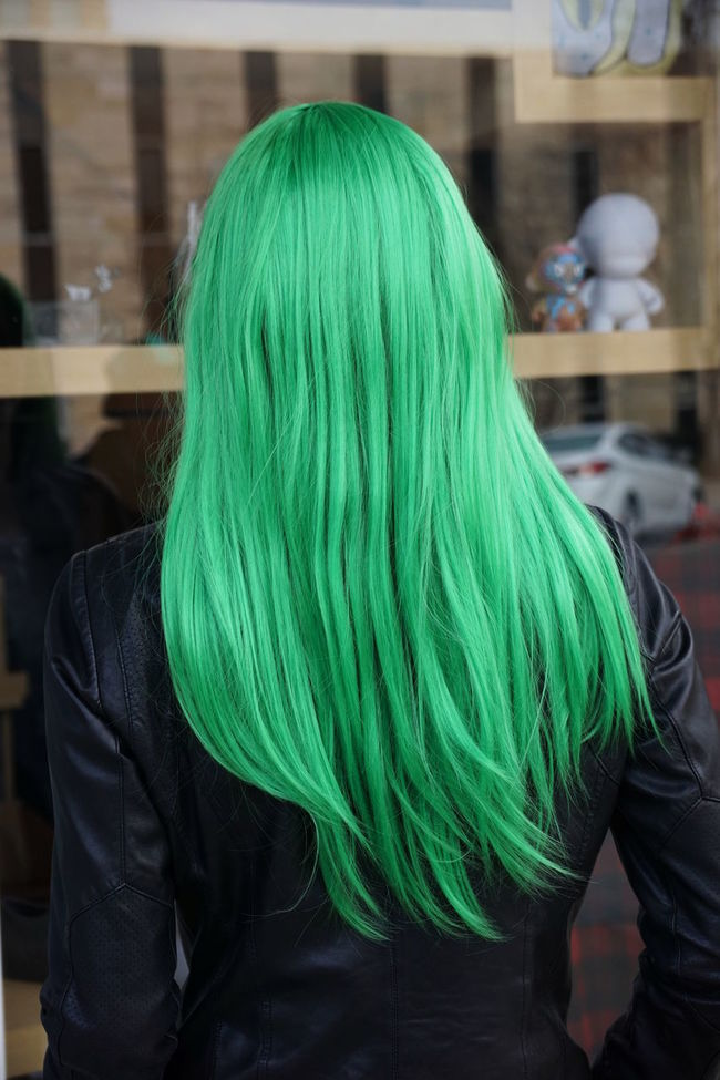 Green hair on St. Patrick's Day, detail. Dyed Hair Green Hair Leather Jacket Let Your Hair Down Long Hair St. Patricks Day Street Photography Style Woman