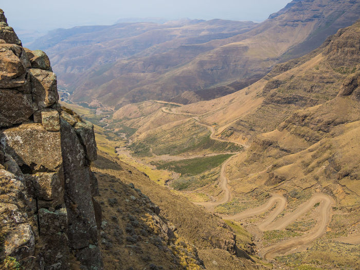 Offroad Curvy Road Lesotho Sani Pass Sani Mountain Pass Mountain Range Mountain Pass South Africa Africa