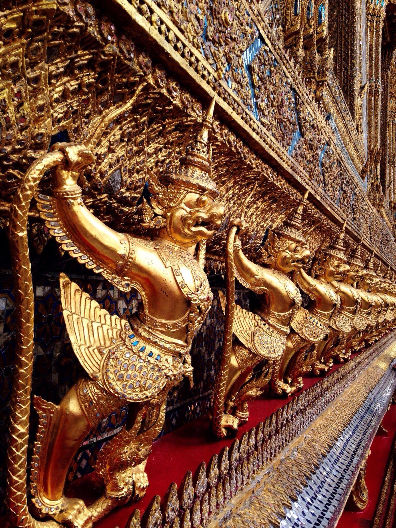Grand Palace Bangkok Thailand Gold Colored Close-up Architecture