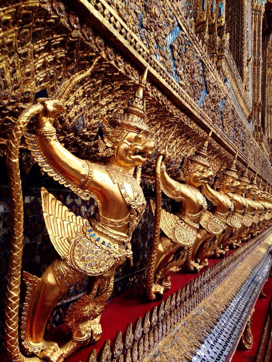 Grand Palace Bangkok Thailand Gold Colored Close-up Architecture