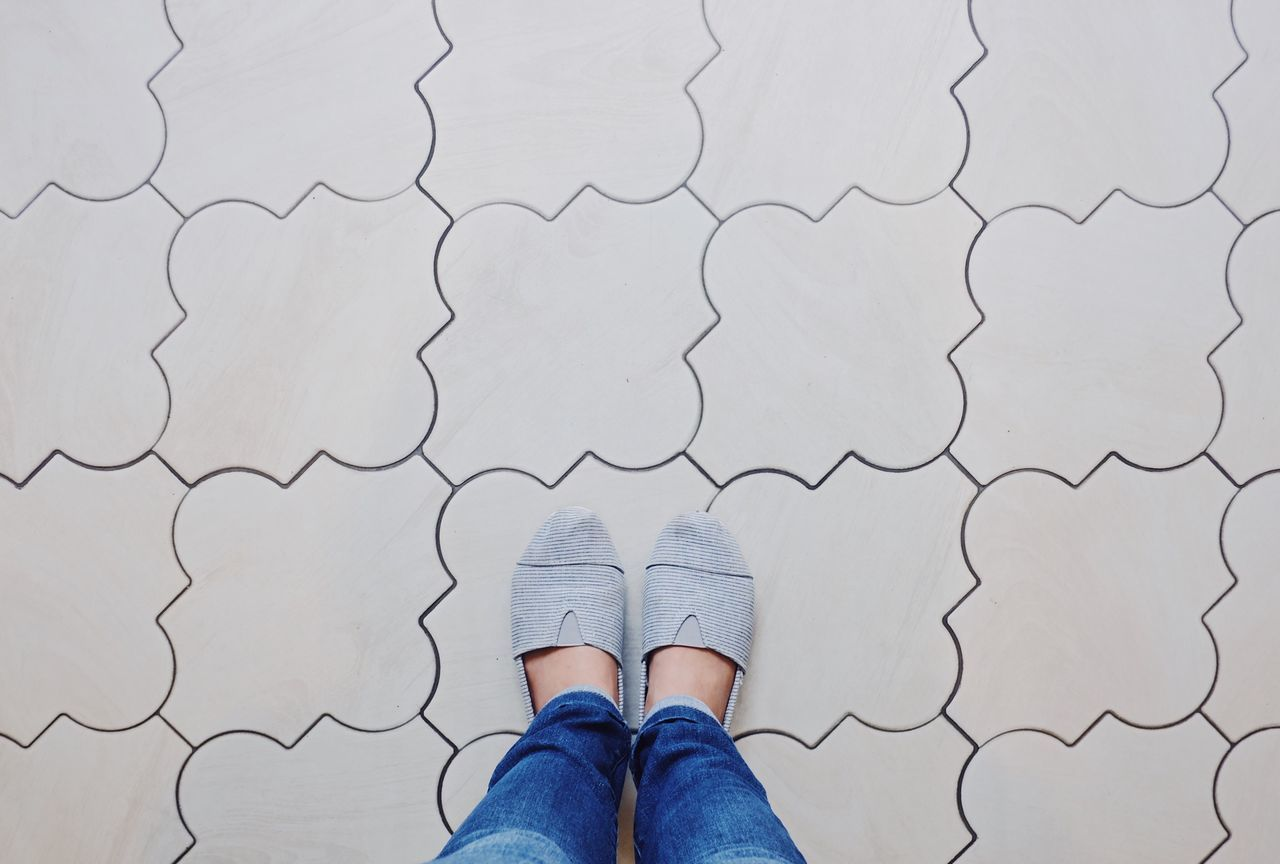 One Person Low Section Human Body Part Human Leg High Angle View Standing Personal Perspective Real People Directly Above Shoe Indoors  Day Close-up People Selfie ✌ Whereistand Floor Pattern Backgrounds Fashion Woman Legs Shoeselfie Explore Travel