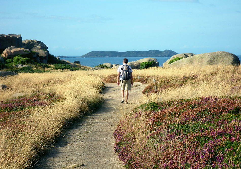 Adults Only Beauty In Nature Bretagne Bretagnetourisme Brittany Casual Clothing Cote De Granit Rose Côte D'Armor Full Length Landscape Leisure Activity Lifestyles Men Mountain Nature One Person Outdoors Plant Real People Rear View Scenics Sea Sea And Sky Sky Water Long Goodbye Long Goodbye