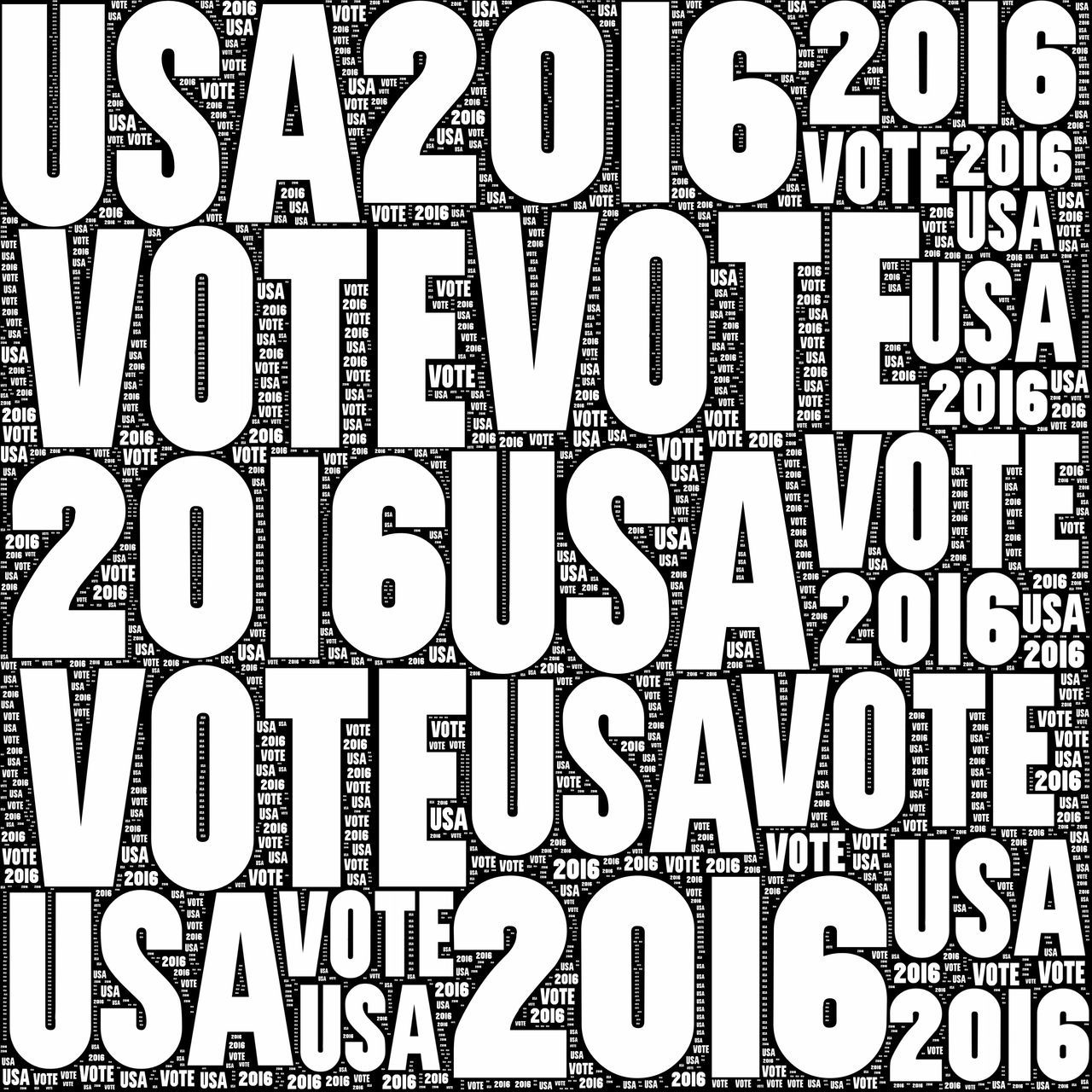 Vote USA 2016 Black and white VOTE USA 2016 sign. 2016 American Blackandwhite Campaign Democracy Democrat Democratic Election Electricity  Government Icon National No People Patriotism President Presidential Sign Sumbol Text United States USA Vote Voter Voting White