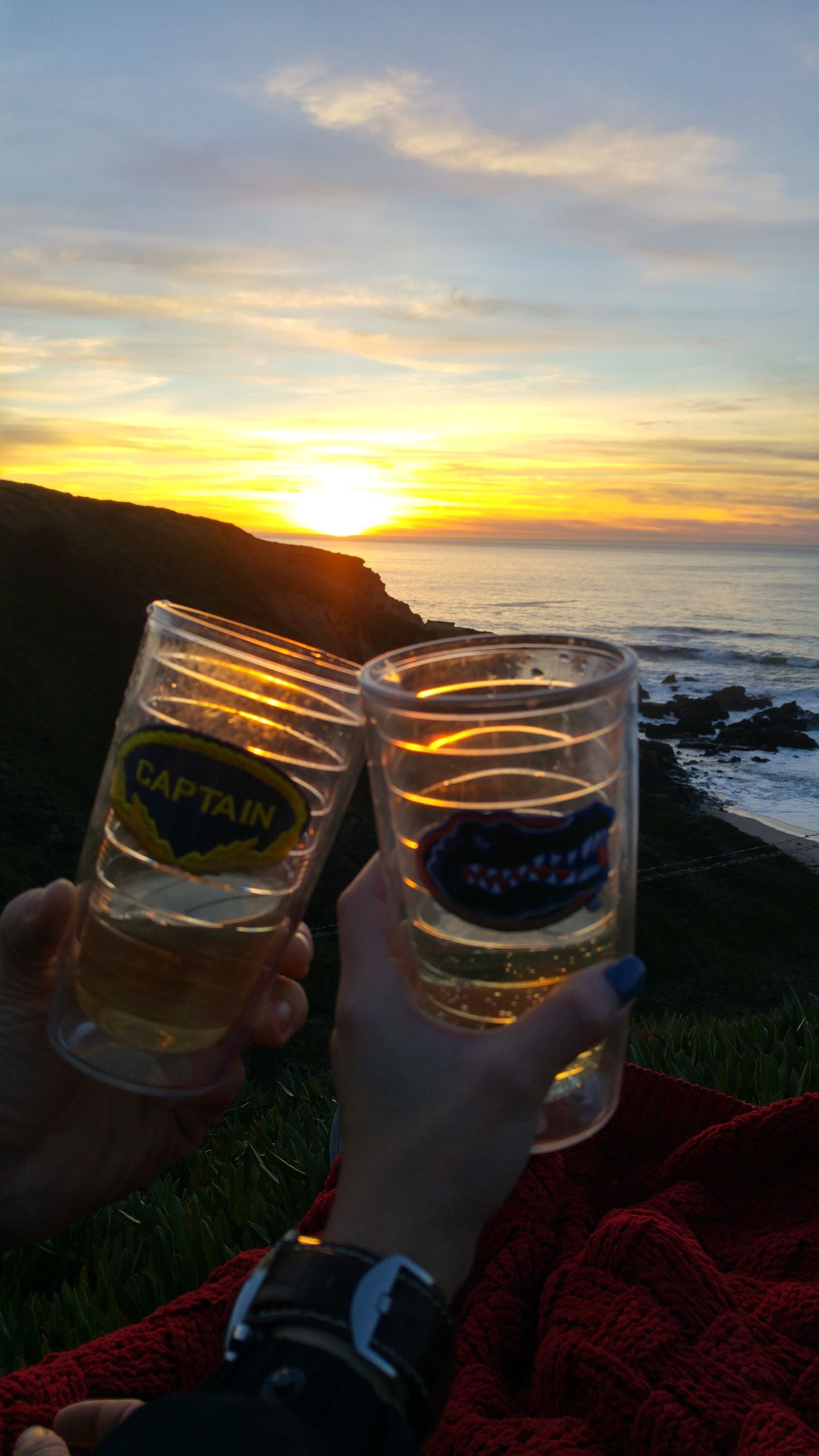 Sunset High Angle View Orange Color Sky Nature Outdoors Beauty In Nature Vacations Nice View Sunsetporn USA Sweet Memories Happy Moments Awesome_view You And I Cheers 🍻 Cali Big Sur CA🇺🇸 Cloud - Sky No Filter